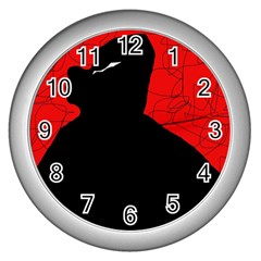 Red and black abstract design Wall Clocks (Silver)
