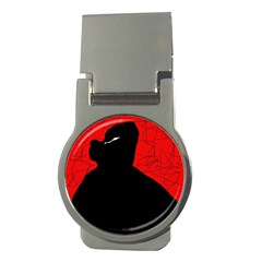 Red and black abstract design Money Clips (Round)