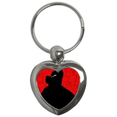 Red and black abstract design Key Chains (Heart)