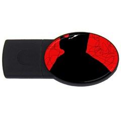 Red and black abstract design USB Flash Drive Oval (2 GB)
