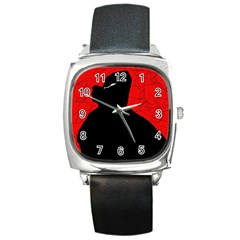 Red and black abstract design Square Metal Watch