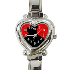 Red and black abstract design Heart Italian Charm Watch