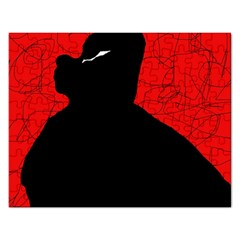 Red and black abstract design Rectangular Jigsaw Puzzl
