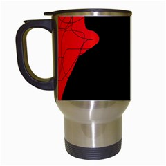 Red and black abstract design Travel Mugs (White)