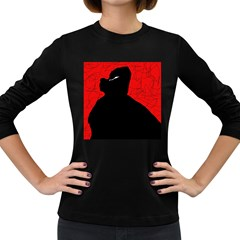Red and black abstract design Women s Long Sleeve Dark T-Shirts