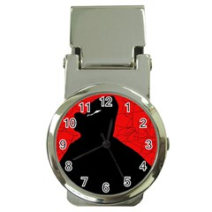 Red and black abstract design Money Clip Watches