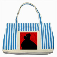 Red and black abstract design Striped Blue Tote Bag