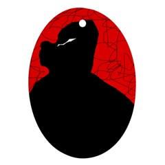 Red and black abstract design Oval Ornament (Two Sides)
