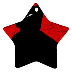 Red and black abstract design Star Ornament (Two Sides)