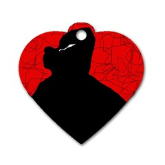 Red and black abstract design Dog Tag Heart (One Side)