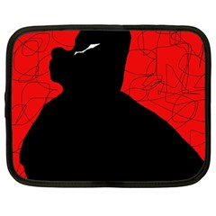 Red and black abstract design Netbook Case (Large)