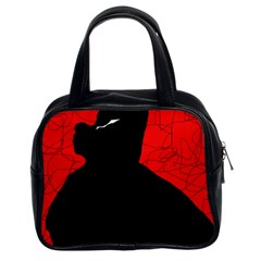 Red and black abstract design Classic Handbags (2 Sides)