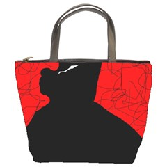 Red and black abstract design Bucket Bags