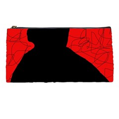 Red and black abstract design Pencil Cases