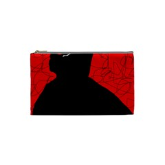 Red and black abstract design Cosmetic Bag (Small)