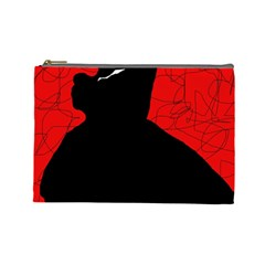 Red and black abstract design Cosmetic Bag (Large)