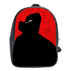 Red and black abstract design School Bags(Large)