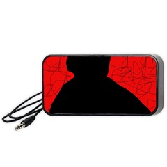 Red and black abstract design Portable Speaker (Black)