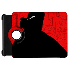 Red and black abstract design Kindle Fire HD Flip 360 Case