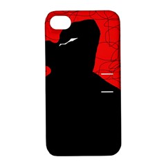 Red and black abstract design Apple iPhone 4/4S Hardshell Case with Stand