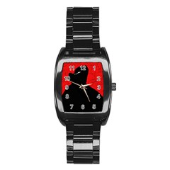 Red and black abstract design Stainless Steel Barrel Watch