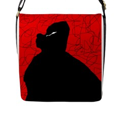 Red and black abstract design Flap Messenger Bag (L)