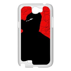Red and black abstract design Samsung Galaxy Note 2 Case (White)