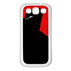 Red and black abstract design Samsung Galaxy S3 Back Case (White)