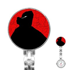Red and black abstract design Stainless Steel Nurses Watch