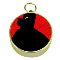 Red and black abstract design Gold Compasses