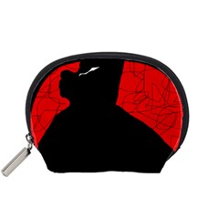 Red and black abstract design Accessory Pouches (Small)