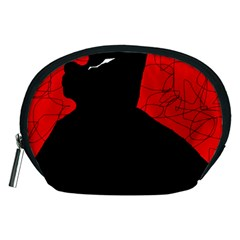 Red and black abstract design Accessory Pouches (Medium)