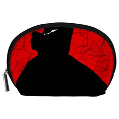 Red and black abstract design Accessory Pouches (Large)