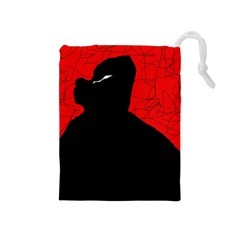 Red and black abstract design Drawstring Pouches (Medium)