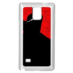 Red and black abstract design Samsung Galaxy Note 4 Case (White)