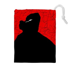 Red and black abstract design Drawstring Pouches (Extra Large)
