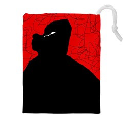 Red and black abstract design Drawstring Pouches (XXL)