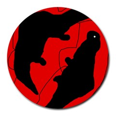 Black and red lizard  Round Mousepads