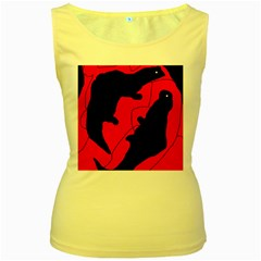Black and red lizard  Women s Yellow Tank Top