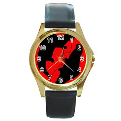 Black and red lizard  Round Gold Metal Watch