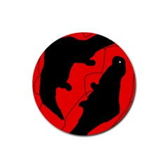 Black and red lizard  Rubber Coaster (Round)