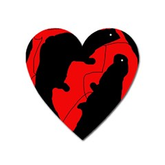 Black and red lizard  Heart Magnet