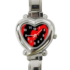 Black and red lizard  Heart Italian Charm Watch
