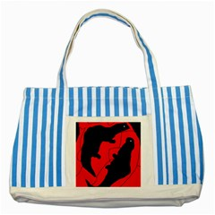 Black and red lizard  Striped Blue Tote Bag