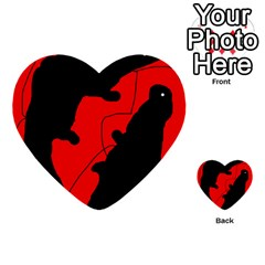 Black and red lizard  Multi-purpose Cards (Heart)