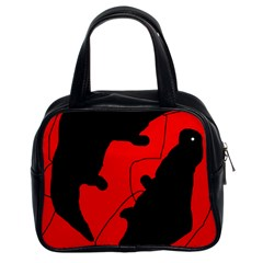 Black and red lizard  Classic Handbags (2 Sides)