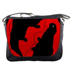 Black and red lizard  Messenger Bags
