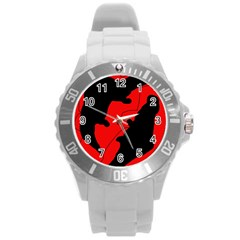 Black and red lizard  Round Plastic Sport Watch (L)