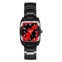 Black and red lizard  Stainless Steel Barrel Watch