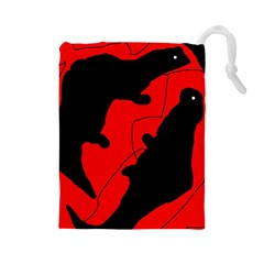 Black and red lizard  Drawstring Pouches (Large)